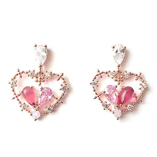 Love Pink Heart Dangle Drop Earrings 925 Sterling Silver Post