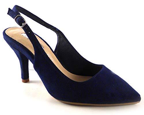 D'ANGELA Shoes Zapatos Salon Mujer Tacon bajo Destalonado, Zapatos Comodos Planta Acolchada Suela engomada Azul Marino