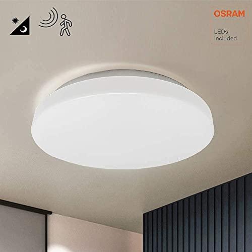 Plafón LED Detector de movimiento, 18W OSRAM CHIP, Luz Natural 4000K, Lámpara redonda techo interior gran luminosidad