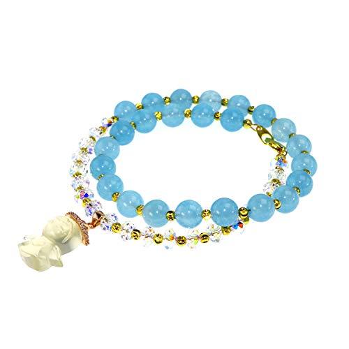 Jan Dee natur marine blau Chalcedon und hohe Qualität Österreich Kristall Semi Precious Anhänger Engel Kristall Armband 8mm