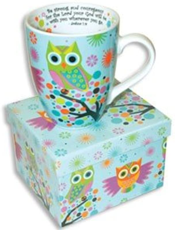 Beautiful Ceramic OWL Coffee MUG With SCRIPTURE Joshua 1 9 BE STRONG With COLORFUL Matching GIFT BOX Bible VERSE Cup LATTE Tea