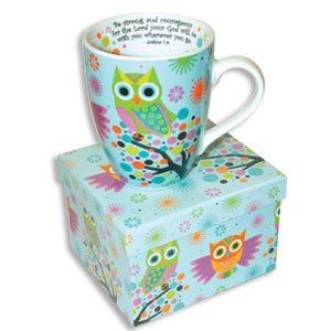Beautiful Ceramic OWL Coffee MUG with SCRIPTURE Joshua 1:9 BE STRONG with COLORFUL Matching GIFT BOX/Bible VERSE Cup/LATTE Tea