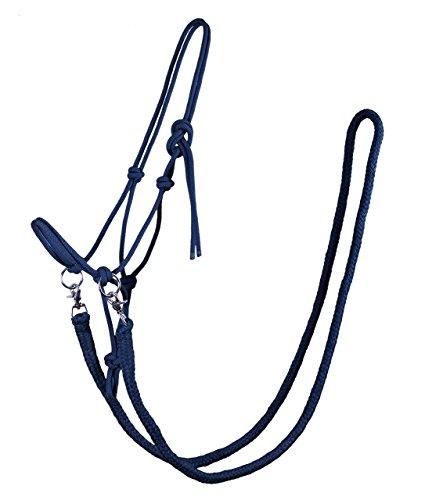 Knotenhalfter mit Zügel Halfter Reithalfter Arbeitshalfter QHP 7 Farben und 4 Größen (shetty, blau)