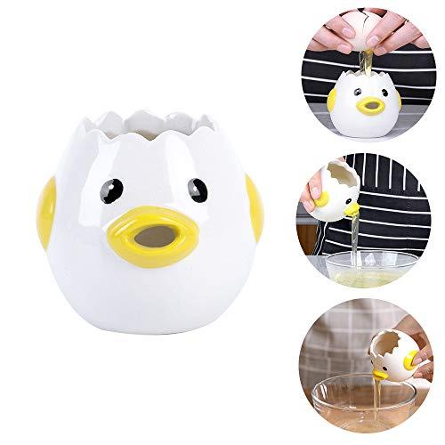 Eier-Trenner, weiß, Cartoon-Hühner-Design, Keramik, Eier-Trenner, praktischer Eier-Extraktor, Eigelb aus Eiweiß, Küchenhelfer zum Backen