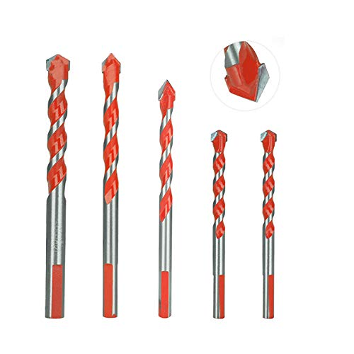 Juego de 5 brocas para mampostería, brocas multifuncionales con punta de carburo para baldosas, hormigón, ladrillo, vidrio y madera (6 mm, 8 mm, 10 mm, 12 mm), rojo