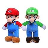 JUNMAIDZ Juguete de Peluche 25 cm Super Mario Bros Luigi Peluche Toys Super Mario Stand Mario Brother Toys Relleno Muñecas Suaves para niños (Color : 2PCS/Set)