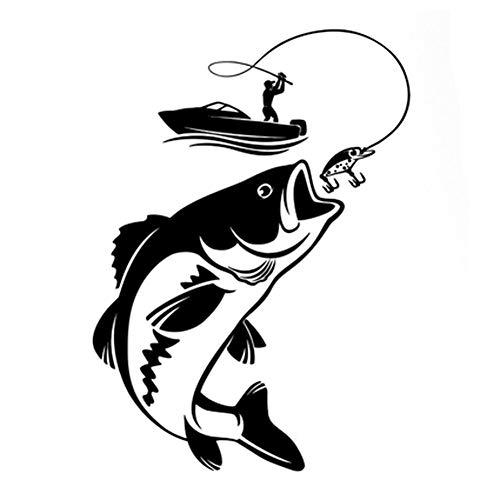 EROSPA® Aufkleber/Sticker KFZ Auto Motorrad - Angler fängt Fisch - Car-Sticker (Schwarz)