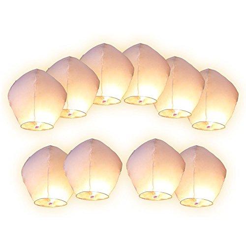 Gespout 10pcs Lanterne Volante Papier Blanc pour Mariage et Festival Grand