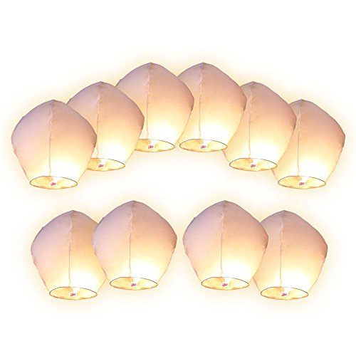 Scrox 10 Piezas Blancas Linternas Lámpara de Papel Linternas Chinas del Cielo Farolillos Voladores Linternas Voladoras para Deseos Fiestas Celebraciones Decoraciones, Lámpara deseando Chino