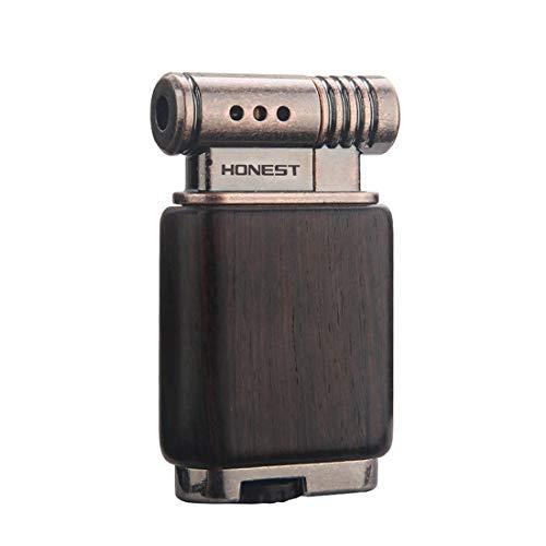 Tobacco Pipe Lighter Soft Flame Refillable Gas Wooden Case Fire Starter Cigarette Candle Lighter for Men Women