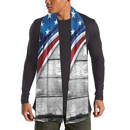 JONINOT Amerikanische Flagge Antiker rustikaler alter Holzschal für Frauen Männer Leichte Unisex Spring Soft Winterschals Schal Wraps