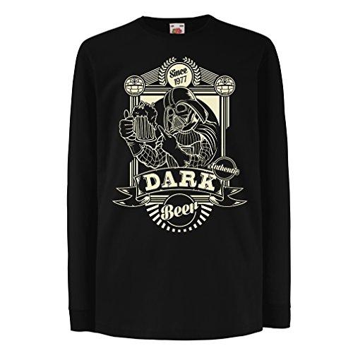 N4346D La Camiseta de los niños con Mangas largas Cerveza Oscura (3-4 Years Negro Multicolor)