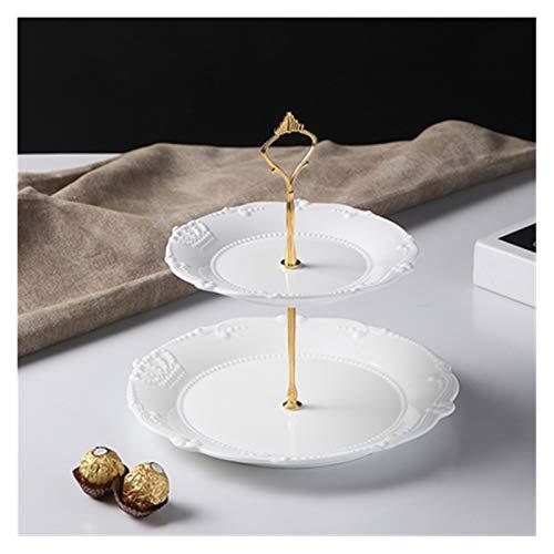 lliang Plato de Cena 2pcs Set, cerámica de Porcelana en Relieve Blanca con Set de Acero, decoración de Bodas Fruit Placa Sires, Salón de Buffet (Farbe : Licht Grün)