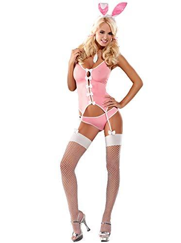 Selente Love & Fun reizvolles Häschen-Kostüm 4-teiliges Set in toller Geschenkbox & exklusiver Satin-Augenbinde Made in EU, Pink, L/XL