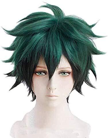2021 el último Cosplay peluca Deku Anime Cosplay Verde Negro Cabello Hombres Halloween Cosplay Props