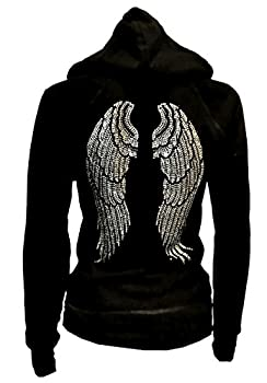 Lady Plus Size Angel Wings Zip up Hoodie Sweater with Rhinestones Front & Back  2X-Large  Black