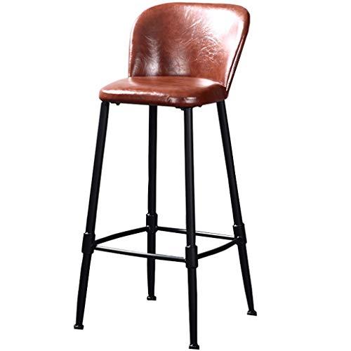 Hoog ijzer smeedijzeren barkruk, met de hand gelast (stoel 75cm, 30 inch) bruine barkruk, ijzeren structuur, lederen kussen, voor restaurants, bars, cafés, receptie