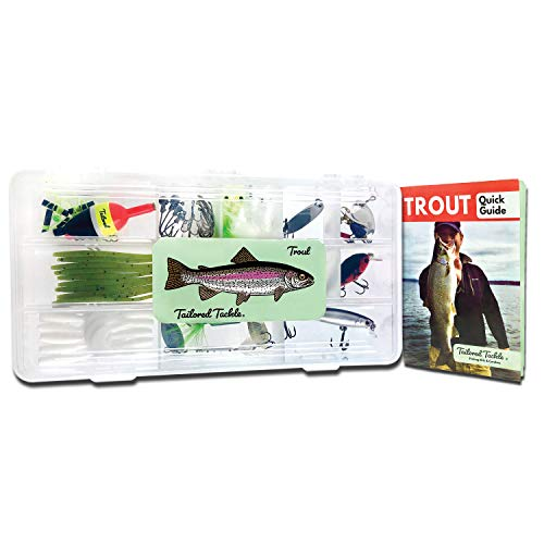 trout fishings Tailored Tackle Trout Fishing Kit 77 Pc Tackle Box with Tackle Included | Tail Spinners Jerkbait Lure Crankbait Lures Jigs Bait Hooks Spoons Rooster Spinner Baits | Gear for Rainbow Trout Brook Brown