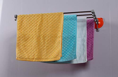 WOSBE Sistema de vacío Toalleros Toallero para el baño Montaje en Pared con Cinta Adhesiva Tendedero de ropa telescópica de 56.3cm.