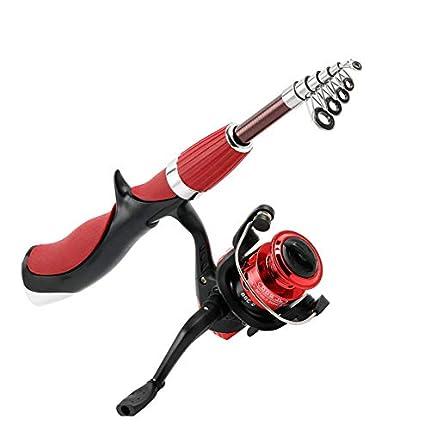 YOUNICER Mini carrete de pesca Spinning Tackle Set de cañas de pescar Combos con caña de pescar telescópica, carretes giratorios