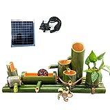 YYAI-HHJU Características del Agua para El Jardín Energía Solar,Dispositivo De Flujo De Agua De Bambú Solar, Tubo De Bambú, Bambú Práctico, Hogar Interior Y Exterior