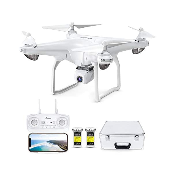 Potensic D58 FPV Drone with 1080P Camera for Adults, 5G WiFi HD Live Video, GPS Auto Return, RC Quadcopter for Beginners, Portable Case, 2 Batteries, Follow Me, Tap Fly, Altitude Hold, Expert, White
