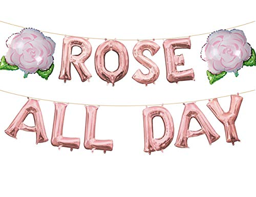 Rose All Day Balloons Banner Kit Valentine's Day Bridal Shower Wedding Bachelorette Celebration Anniversary Party Supplies Decorations