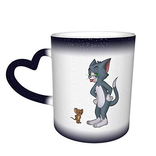 jianpanxia Farbwechselbecher,Tom und Jerry Orange Design Keramikbecher Teetassen für Kaffee, Tee, Kakao und Glühgetränke,Blau
