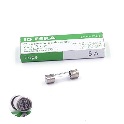 10x Schmelzsicherung, träge (T), aus Glas, 5A/250VAC, 5x20mm