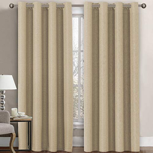 Linen Blackout Curtain 84 Inches Long for Bedroom / Living Room Thermal Insulated Grommet Linen Look Curtain Drapes Primitive Textured Burlab Effect Window Drapes 1 Panel - Beige