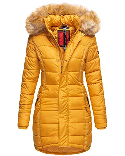 Navahoo Papaya Damen Winter Jacke Steppjacke Mantel Parka gesteppt warm B374 [B374-Papaya-Gelb-Gr.S]