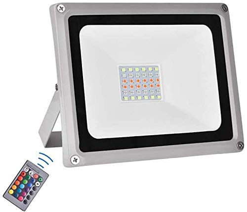 RGB LED Flood Lights, 100W Color Changing Outdoor Floodlight with Remote Control, 16 Colors 4 Modes Dimmable Security Light, IP65 Waterproof Wall Washer Light for Outdoor Decorative Garden Stage Ligh
