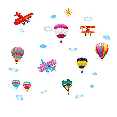 Winhappyhome Mignon MontgolfièRes Art Stickers Muraux pour Enfants Chambre Backdrop Salon Nursery Amovibles DéCor Stickers