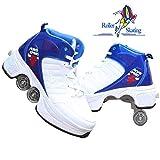 H&Y Kinder-Rollerblades 2-in-1-Mehrzweckschuhe 4-Rad-verstellbare Quad-Inline-Skates In Mehreren Größen Anfänger-Roller-Spaß Für Kinder Jungen Und Mädchen,BlueWhite-39