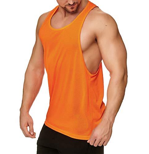 Muscle Shirt Herren Tank Top Achselshirt mit tief geschnittenem Armausschnitt Neon Orange, Größe:L