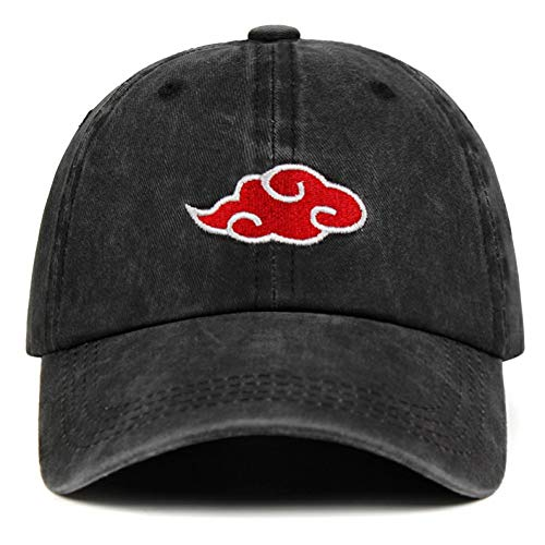 Yooci Cap gewaschen Denim Papa Hut Akatsuki Logo Anime Papa Hut Uchiha Familie Logo Stickerei Baseball Caps schwarz Hysteresenhüte Black