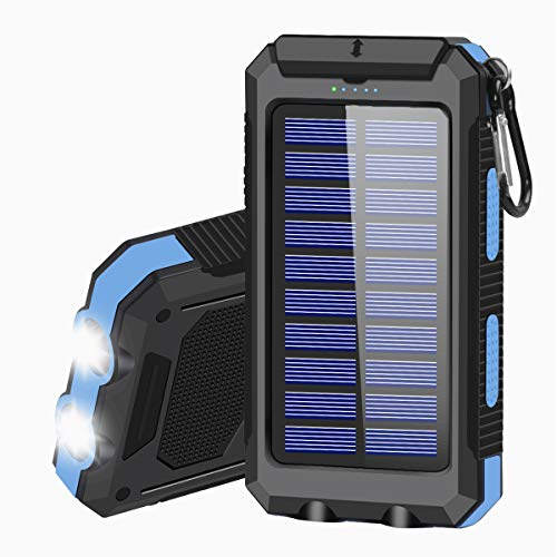 Solar Charger 20000mAh Portable Solar Power Bank for Cell Phone Waterproof External Backup Battery Power Pack Charger Built-in Dual USB/Flashlight for All Cell Phones, Tablets, and Electronic Devices