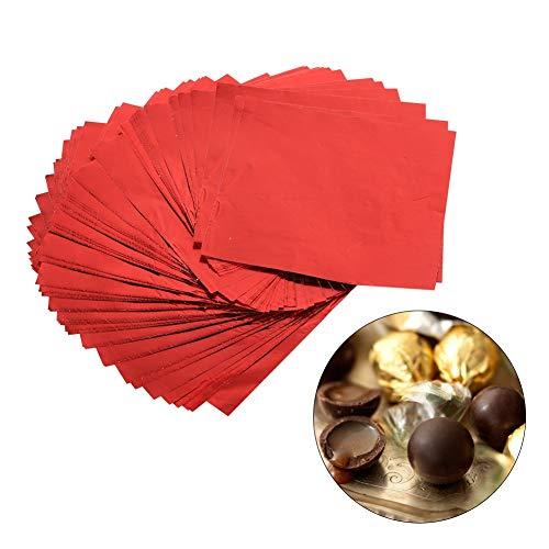 BOROCO 100 envoltorios de Chocolate Personalizados, envoltorios Cuadrados de Papel de Aluminio para decoración de empaques de Dulces de Bricolaje (3'X 3')(Rojo)