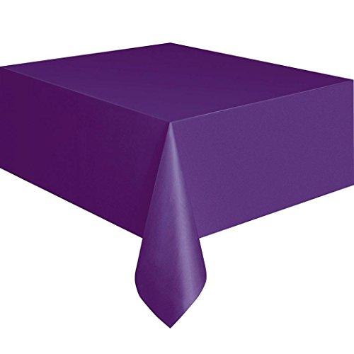 Zhouba Nappe de table rectangulaire jetable en plastique - Pour repas de fête - 137 x 280 cm, violet foncé, Taille unique