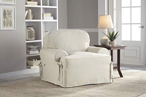 Serta | Relaxed Cotton Duck Slipcover Collection, Fits Most T-Cushion Chairs Measuring, 32' to 43', White