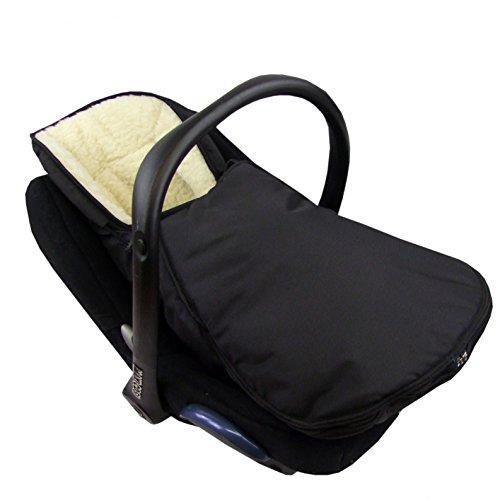 BAMBINIWELT Winterfußsack für Babyschale MAXI-COSI Cabrio Fix mit WOLLE UNI (schwarz WOLLE)