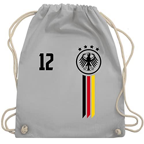 Shirtracer Fussball WM 2022 Fanartikel - 12. Mann Deutschland EM - Unisize - Hellgrau - wm geschenke 2018 - WM110 - Turnbeutel und Stoffbeutel aus Baumwolle
