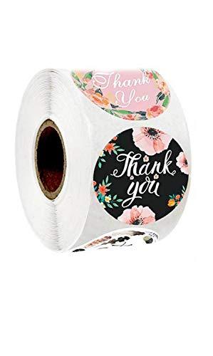 500 Piezas etiqueta, Gracias Papel Autoadhesivas, Redonda Hecha a Mano Etiqueta Decoración para hornear bolsa regalo boda Acción Gracias