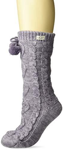 UGG Women's Pom Pom Fleece Lined Crew Sock, Lavender Aura, One Size