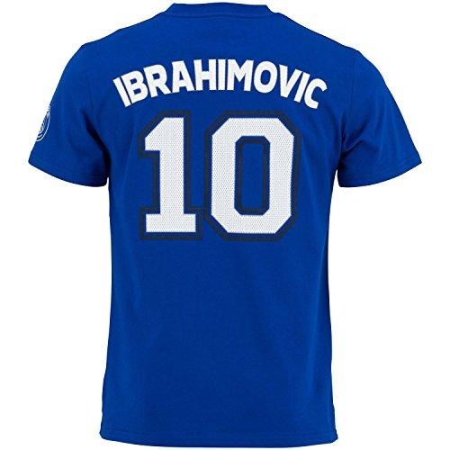 Paris Saint-Germain Herren-T-Shirt, Motiv: Zlatan Ibrahimovic, offizielle Kollektion, Erwachsenengröße M blau