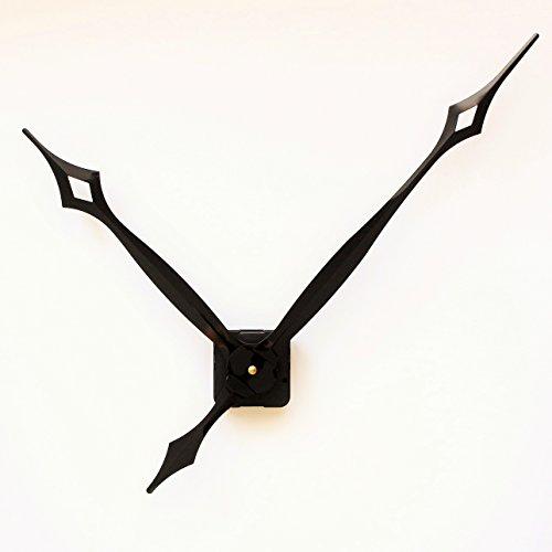 UNADJUSTED Quarz Uhrwerk Lange extra lang großen Riesig groß Metall Zeiger Uhrzeigern XXXL#16 (Gewindelänge: 15 mm)