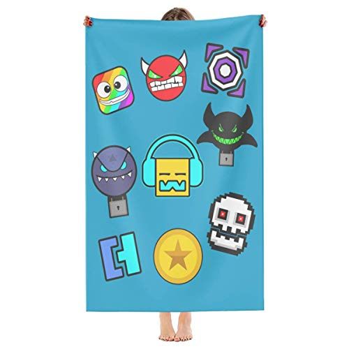 Geometry Dash – Asciugamano da spiaggia in microfibra con icone, ad asciugatura rapida, fresco...