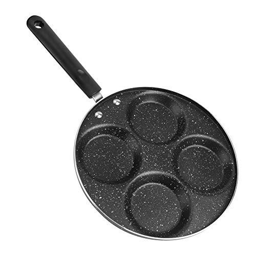 Poêle à oeufs Poêle à crêpes en aluminium avec moule à 4 trous ronds Poêle de cuisson antiadhésive pour hamburgers au jambon avec poignées longues antidérapantes Fabricant d omelettes