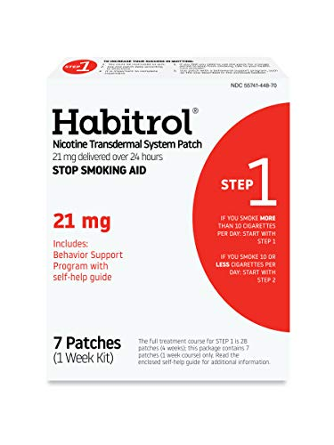 Habitrol Nicotine Transdermal System Patch | Stop Smoking Aid | Step 1 (21 mg) | 7 Patches (1 Week Kit) | Packaging May Vary