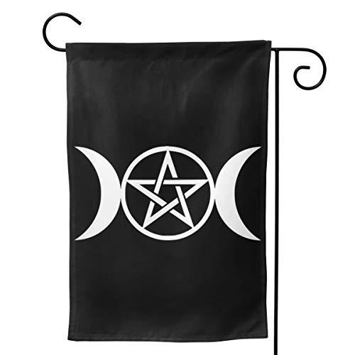 Einst Dreifachmond-Fahne mit Pentagramm, vertikal, doppelseitig, Polyester, 31,8 x 45,7 cm, weiß, 12.5 x 18 Inch